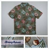 Tommy Bahama Men's Small Silk Floral Hawaiian Aloha Hibiscus Camp Shirt Green