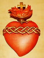 Sagrado Corazón de Jesús en Madera Grabado E Pintado a Mano Cm. 9x6 Sacred Heart