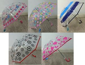 Kids Childrens Umbrella Clear PVC Dome Design Brolly Boys Girls Colourful Childs