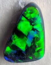 0.7ct Solid Black Opal BRILLIANT GREEN & BLUE Lightning Ridge!