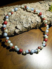Neu unikat grau Polariskette bordeaux rot Halskette Collier Polaris perlen kette