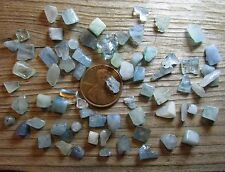 100 Extra Tiny Aqua Mini-Stones (Aquamarine?): 4mm to 10mm- Undrilled fragments