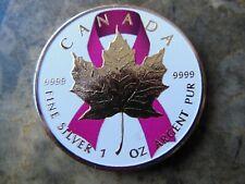 2016 Canada Breast Cancer Pink Ribbon Silver Maple Leaf 1 oz .9999 w// gold rare