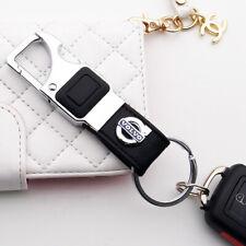 Volvo 3D Alloy Black Leather Keychain Ring LED Flashlight Opener Home Car Gift
