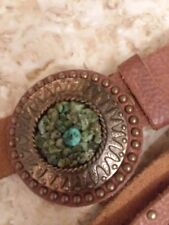 BEBE Leather Belt With Turquoise stone M