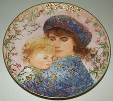"""Edna Hibel Collector Plate """"Catherine And Heather"""" 1987 Mother'S Day 18K Gold"""