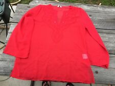 ATMOSPHERE Red Blouse Tunic Womens Size14 Europe 42 3/4 Sleeve Beautiful