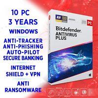 Bitdefender Antivirus Plus 2021 10 PC 3 years / FULL EDITION +VPN