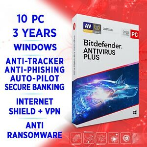 Bitdefender Antivirus Plus 2021 10 PC 3 years / FULL EDITION +VPN