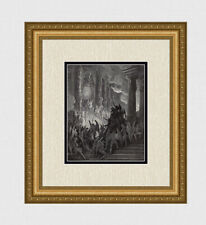 Intense 1800s Gustave Dore Woodcut SATAN IN COUNCIL Signed Gallery Framed COA