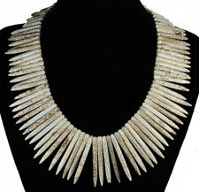 "White Howlite Turquoise Graduated Stick Spike Choker Necklace Beads 16"" Strand"