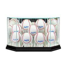 New 9 Ball Baseball Display Case MLB Glass & Mirror Black Molding FREE SHIPPING