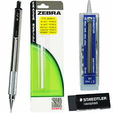 Zebra M-701 Stainless Steel Mechanical Pencil, 0.7mm, 4-Piece Set
