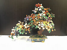 """Vintage Chinese 17 x 14"""" Jade Tree Multi Color Stone Flowers In Cloisonne Pot"""