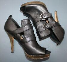 COACH Alexia Black Leather Peep Toe Platform Stiletto Bootie Size 10