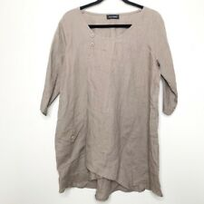 Eva Tralala Tan Lagenlook Linen Tunic Blouse Made in Paris