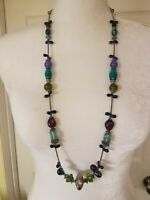 Vintage Art And Foil Glass Bead Necklace Silver Tone Blue Purple Green Statement