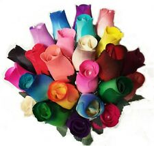WOODEN ROSE BOUQUET MIXED COLOURS OR CHOOSE COLOURS  CELLO WRAPPED GIFT