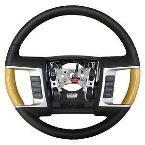 OEM 2009-2010 Lincoln MKX Steering Wheel Black Leather Wood Radio Cruise Control