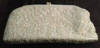 Vintage White Beaded Clutch Purse Made In Hong Kong 1950's 1960's    159