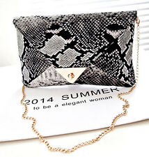 Snake skin LUXURY PURSE animal print Envelope clutch Party Handbag with Chain