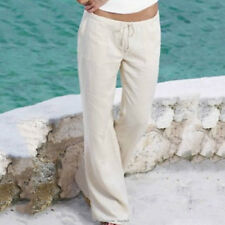 Womens Linen Casual Trousers Summer Wide Leg Pants Bottoms Holiday Beach Chino