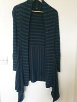 M&S Striped Open Waterfall Cardigan Top Ribbed Size 12