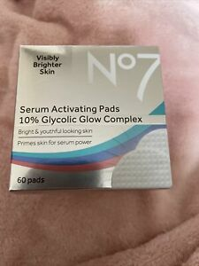 No7 Serum Activating Glow Pads 10% Glycolic Brighter Skin. 60 Pads.
