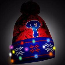Philadelphia Phillies Big Logo Light Up Printed Beanie Winter Hat Cuffed Pom New