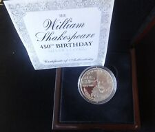 2014 ARGENTO PROOF JERSEY £ 5 MEDAGLIA BOX + COA 450th ann William Shakespeare nascita