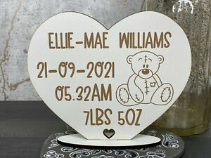 Personalised Baby Birth, Date, Weight, Time Bear Heart Stand Keepsake Gift