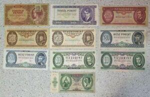 Job Lot Hungary Banknotes 10000 10 Pengo 500 100 50 20 10 Forint