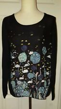Anthropologie Knitted & Knotted Swan Tableau Pullover Top Michelle Morin Large