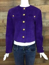 Carlisle Purple Suede Jacket Size 6 Cropped Gold Brass Buttons Vintage Lined