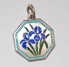 Vintage Silver Enamel IRIS Flower Charm - Thomas L Mott TLM - APRIL Engraved TKH