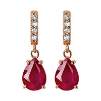 10k Rose Gold Genuine Pear-Shape Ruby and Diamond Drop-Dangle Earrings