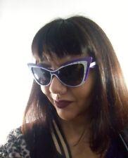 Lunettes de soleil papillon cats eyes design rétro bicolore violet blanc strass
