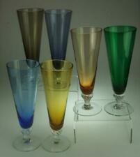 Set of 6 Harlequin Glass Champagne Flutes in 6 Different Colours KC716