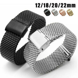 12-22mm Mesh Watch Band Stainless Steel Milanese Link Bracelet Wrist Strap
