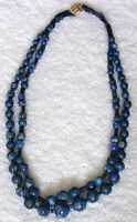 Handmade Round & Rectangle Lapis Lazuli Bead Double Strand 20 Inch Necklace