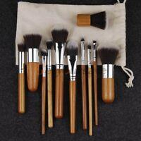 11 PCS Professional Kabuki Bamboo Handle Makeup set Foundation Blush Kit Bag Cas