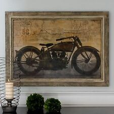 LARGE BEAUTIFUL OIL REPRODUCTIONART PAINTING VINTAGE MOTORCYCLE HARLEY STYLE