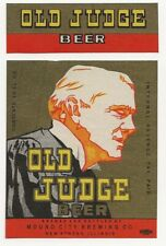 Mound City Brewing Old Judge Beer label with neck Irtp New Athens Il