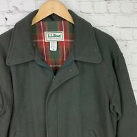 Men's L.L.BEAN (Medium) Vintage Green Wool Flannel Lined Jacket Made In USA