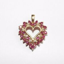 10k Yellow Gold 1.00 carat Natural Ruby and Diamond Heart Shaped Pendant
