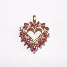 10k Yellow Gold 1.00 carat Natural Ruby and Diamond Heart Shaped Pendant