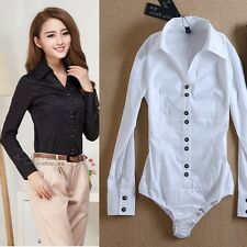 Sexy Women Blouse Bodysuit Shirt V-neck Button Down Long Sleeve Top White Black