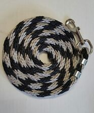 Horse Nylon Lead Rope 70 inches with steel  Swivel Snap - gray/black candy cane