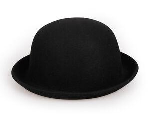 Women Girls Wool Felt  Bowler Derby Hat Cap Adults Kids Cloche Hat Roller up New