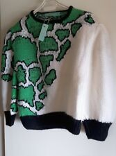 NEW MANOS DE ORO FOR LAFAYETTE PARIS GREEN ANIMAL PRINT ON WHITE  JUMPER size S